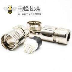 12芯连接器M23连接器弯插头母头接线带屏蔽