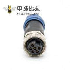 7/8连接器6芯母头直式接线焊线不带屏蔽