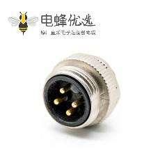 7/8连接器四芯公头焊线注塑头带屏蔽直式