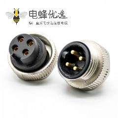 7/8连接器四芯母头焊线注塑头直式带屏蔽