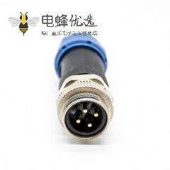 7/8连接器四芯公头直式焊线不带屏蔽