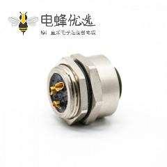 7/8连接器焊线3芯母头面板安装后锁板带屏蔽