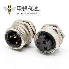 7/8连接器焊线 3芯公头面板安装后锁板带屏蔽