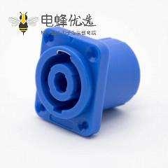 音响电源插座冲电插座蓝色4孔法兰面板安装直式