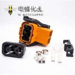 2芯6MM弯塑胶高压互锁连接器A键位压接16平方线