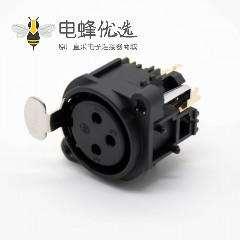 音响专用插座立式卡侬座3芯卡侬母插座插孔面板安装带开关直式