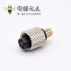 m8接头5芯注塑母头直式焊杯不带屏蔽A编码