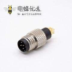 m8公头6芯直注塑公头焊杯不带屏蔽A编码