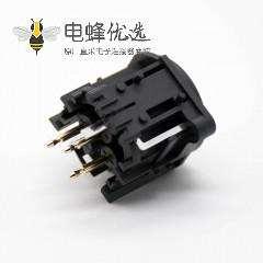 XLR卡侬母座3针公插座插孔面板安装直式音响插座