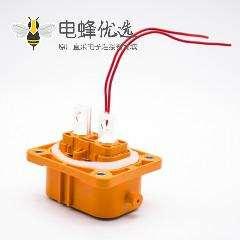 新能源汽车高压连接器2芯6MM塑胶插座A键位铜排5.5通孔直式4孔法兰面板安装
