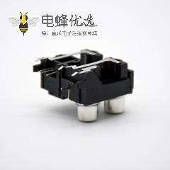 光纤发射端子接收端子三RCA+自动门光纤插座弯式插孔面板