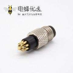 m8航空公插头8芯注塑公头直焊杯不带屏蔽A扣
