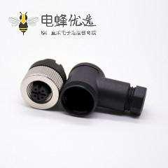 5针m12接头弯母头螺丝锁接式不带屏蔽A编码