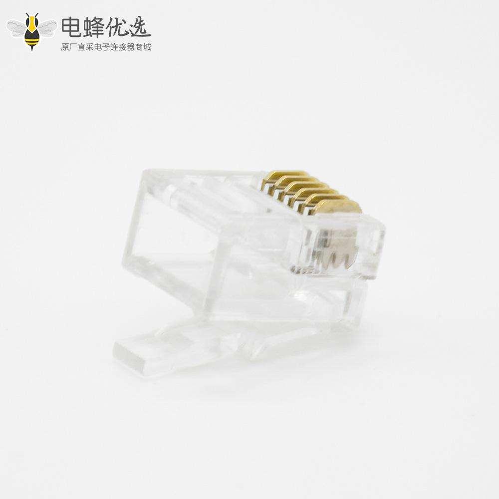 RJ11水晶头6P6C单端口用于CAT3电缆非屏蔽6芯水晶插头