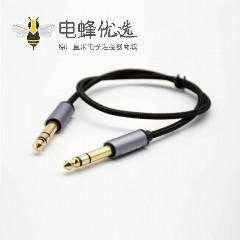 6.5mm音频线镀金公头转公头直式黑色音频线1米