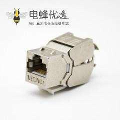 6类RJ45插座模块带屏蔽梯形插孔免工具180度8芯单端口