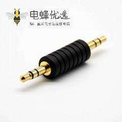 音频线转接头3极公转公直式镀金插头转接头黑色