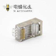 RJ45网络插头带屏蔽直式面板安装8P8C用于Cat5e Cat6 Cat6a Cat7 Cat8