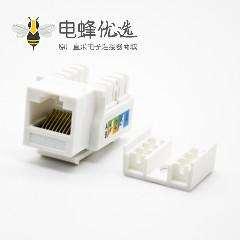RJ45插座面板安装8芯触头镀金梯形插孔非屏蔽用于超五类线材