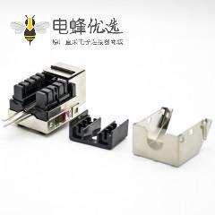 六类RJ45插座模块弯式梯形插孔8芯带屏蔽110 IDC