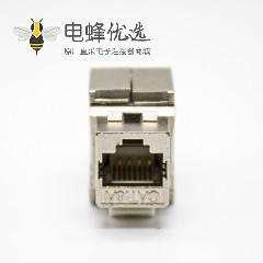 RJ45屏蔽网络插座梯形插孔直式用于超六类网络线材免工具