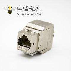 单口网络插座RJ45梯形插孔免工具直式带屏蔽CAT6A触头镀金