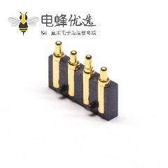 弹簧针Pogopin连接器4芯平放焊接式镀金黄铜2.5MM