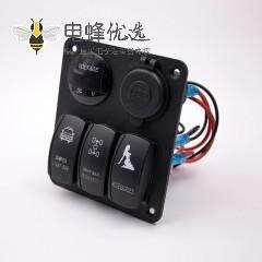 汽车开关改装3位开关双层USB接口电压表