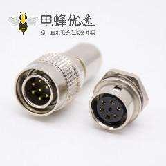 7芯公针型插头母孔型插座一对直式焊杯后锁板HR10系列微型推拉自锁连接器