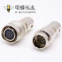 HR10系列微型推拉自锁连接器12芯公针型插头+母孔型插头一对直式焊杯