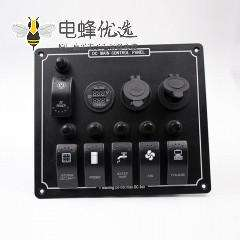 汽车电源母座双USB接口6位开关电压电流表+点烟器