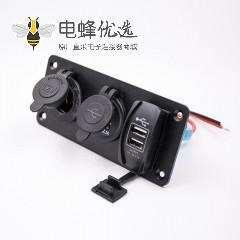 汽车改装点烟器插座面板安装双USB接口接线