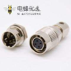 母插头+公插座套装4芯直式焊线后锁板HR10系列微型推拉自锁连接器