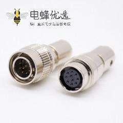 10芯公针型插头+母孔型插头一对直式焊杯HR10系列微型推拉自锁连接器