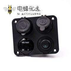 汽车点烟器多孔插座一位开关+双层USB接口+电压表四合一面板