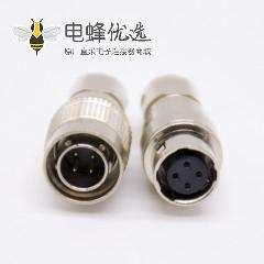 4芯浮动公插头母插座套装直式焊线HR10系列圆形连接器