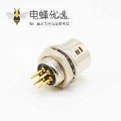 推拉自锁HR10系列连接器母插头+公插座一对6芯直式PCB穿孔后锁板安装