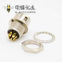 6芯反装母插座针型直式焊杯后锁板HR10系列微型推拉自锁连接器