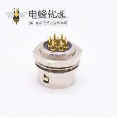 7芯母孔型插座直式PCB后锁板穿孔HR10系列微型推拉自锁连接器