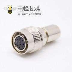 金属推拉式连接器10芯公母插头一对HR10系列微型推拉自锁连接器