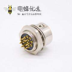 HR10圆形连接器10芯母孔型插座直式PCB穿孔后锁板HR10