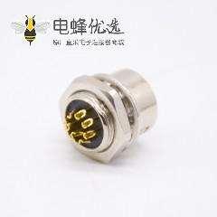 HR10系列圆形连接器10芯针型公插座焊线插座直式焊线后锁板