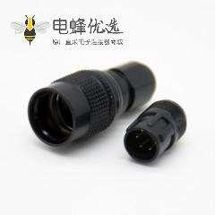 针型插座6芯定制黑色公插头HR10系列微型推拉自锁连接器