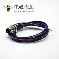 M8焊接式航空插座直式公头后锁板3芯焊线0.2M