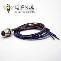 圆形连接器M8后锁板3芯母头防水直式焊线0.2米板端插座