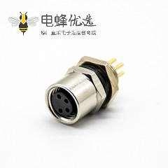 M8航空母插座PCB板安装板端插座防水后锁板4芯传感器连接器
