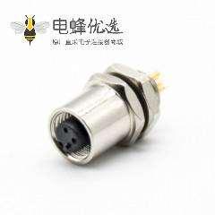 圆形防水M5连接器A扣母头直式3芯后锁板安装孔型插座