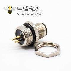 M12连接器PCB板安装A扣180°焊接式后锁板防水3芯公插座