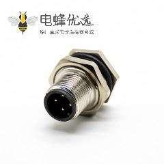 4芯插座M12圆形连接器直式A扣公头前锁板防水接PCB板安装