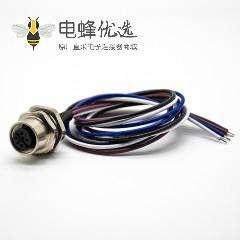 M12 A型母头后锁板4芯直式板端插座接线0.2M防水连接器